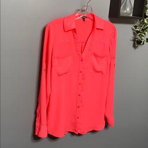Express Neon Pink Sheer Button Down Shirt sz M